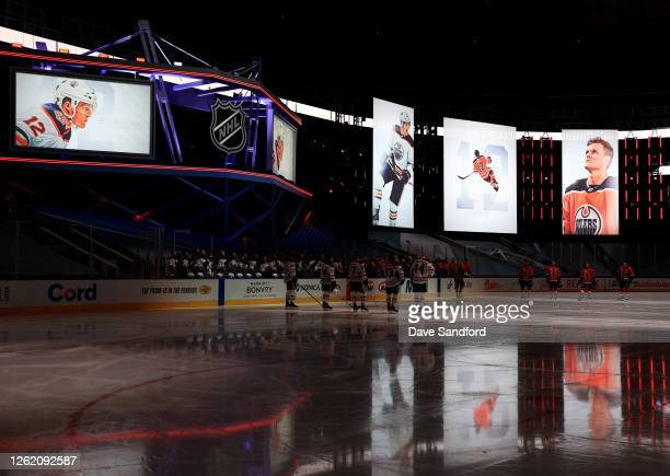 The Edmonton Oilers hold a tribute for the late Colby Cave before the exhibition game against the Calgary Flames prior to the 2020 NHL Stanley Cup...