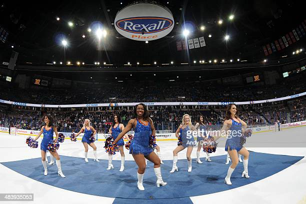 The Edmonton Oilers Octane perform during intermission in a game between the Edmonton Oilers and the Los Angeles Kings on April 10 2014 at Rexall...