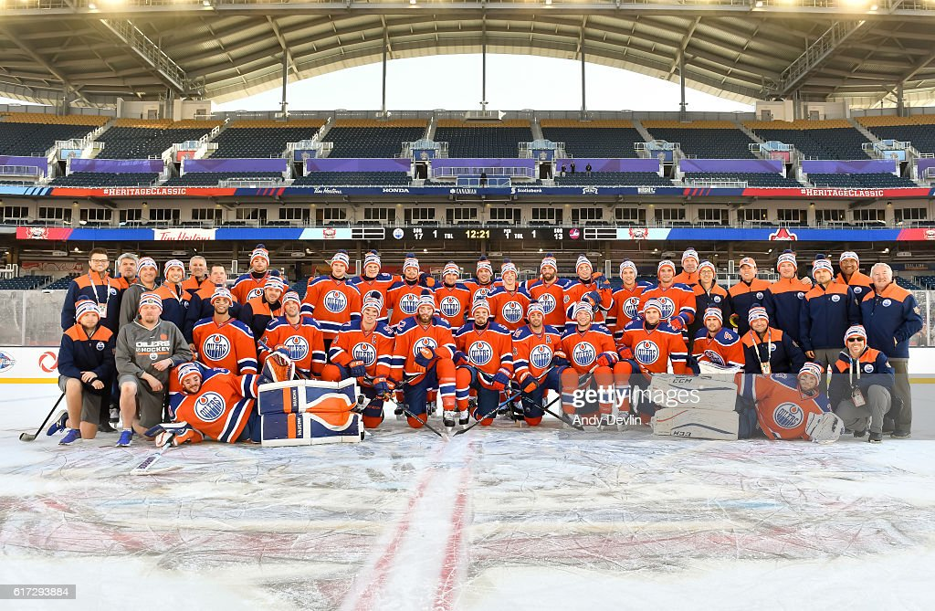 The Edmonton Oilers pose for a photo in advance of the 2016 Tim Hortons NHL Heritage Classic game at Investors Group Field on October 22, 2016 in Winnipeg, Canada.