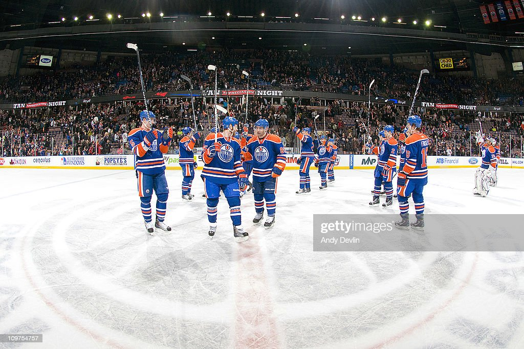 The Edmonton Oilers salute the crowd after a 4-3 win over the Columbus Blue Jackets at Rexall Place on March 3, 2011 in Edmonton, Alberta, Canada.
