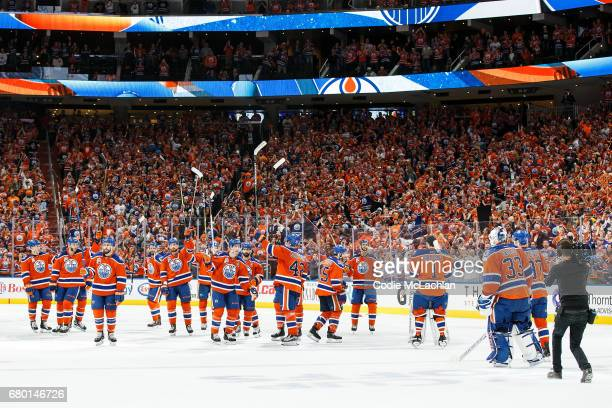 The Edmonton Oilers salute the fans after defeating the Anaheim Ducks 71 in Game Six of the Western Conference Second Round during the 2017 NHL...