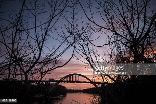 The Edmund Pettus Bridge is seen during sunset on March 6 2015 in Selma Alabama The march from Selma to Montgomery which US President Barack Obama...