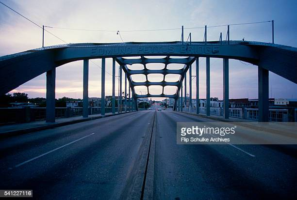 The Edmund Pettus Bridge spans a river in Selma The bridge became notorious when state and local police beat civil rights marchers in 1965