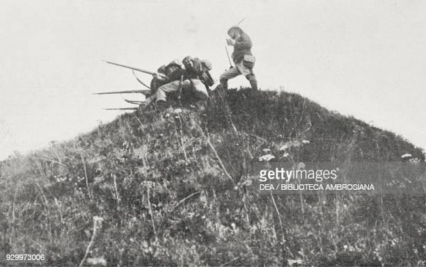 The Edolo battalion on Mount Muro Alpini maneuvers on the eastern border TrentinoAlto Adige Italy photograph by Treves from L'Illustrazione Italiana...