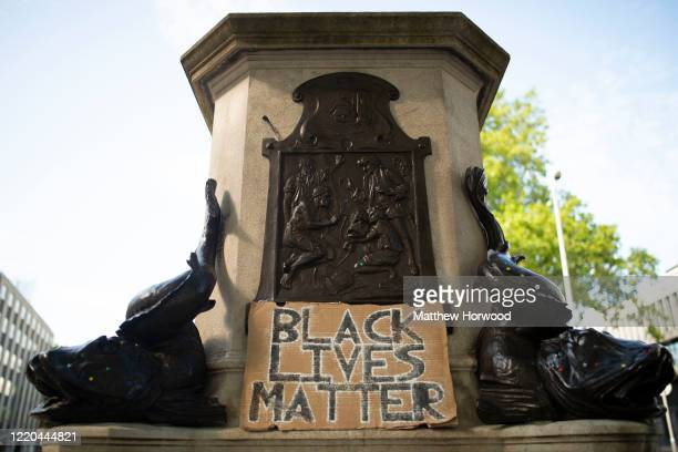 The Edward Colston statue plinth with a sign saying Black Lives Matter on June 16 2020 in Bristol England A statue of slave trader Edward Colston was...