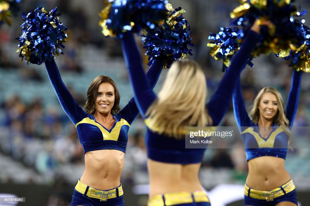 The Eels cheergirls perform during the round 26 NRL match between the Parramatta Eels and the South Sydney Rabbitohs at ANZ Stadium on September 1, 2017 in Sydney, Australia.