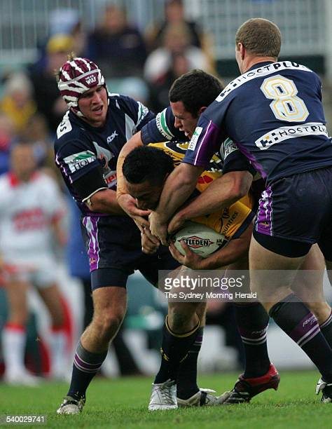 The Eels' Fuifui Moimoi is tackled during the NRL Round 14 rugby league match between the Melbourne Storm and Parramatta Eels at Parramatta Stadium...