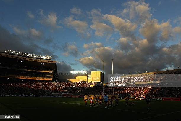 The Eels leave the ground after warming up during the round one NRL match between the Warriors and the Parramatta Eels at Eden Park on March 12 2011...