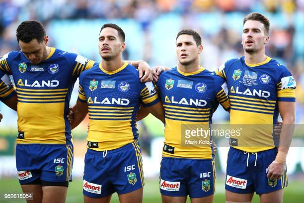 The Eels sing the national anthem during the ANZAC ceremony before the round Eight NRL match between the Parramatta Eels and the Wests Tigers at ANZ...