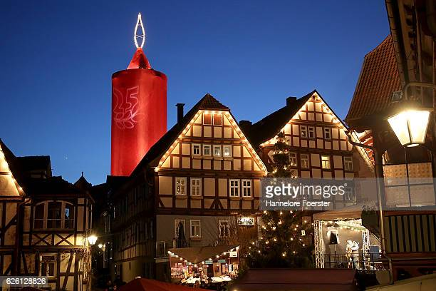 The effigy of a giant candle stands at the annual Christmas Market on November 26 2016 in Schlitz Germany Christmas markets are opening across...