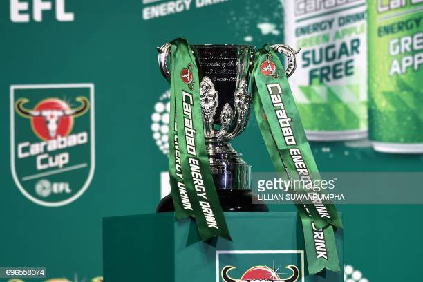 The EFL Carabao Cup is seen during the first draw for the upcoming season's EFL Cup football tournament at Tawandaeng brewery in Bangkok on June 16...