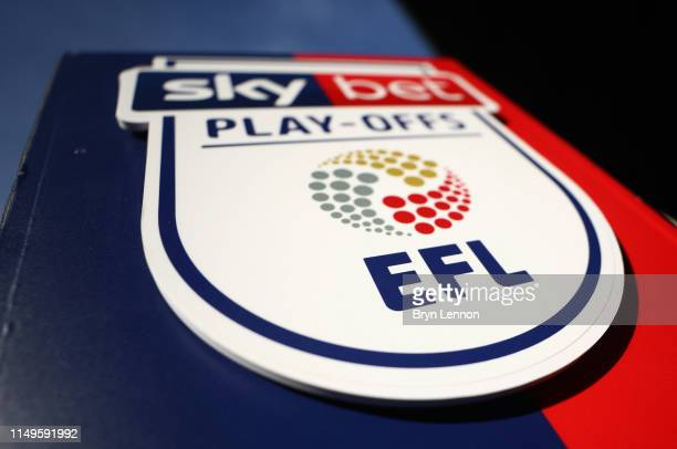 The EFL logo is seen prior to the Sky Bet League One Play-Off Second Leg match between Portsmouth and Sunderland at Fratton Park on May 16, 2019 in...