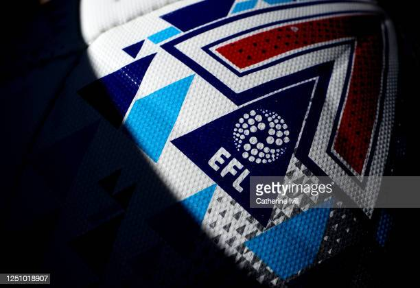 The EFL logo on the match ball during the Sky Bet Championship match between West Bromwich Albion and Birmingham City at The Hawthorns on June 20,...