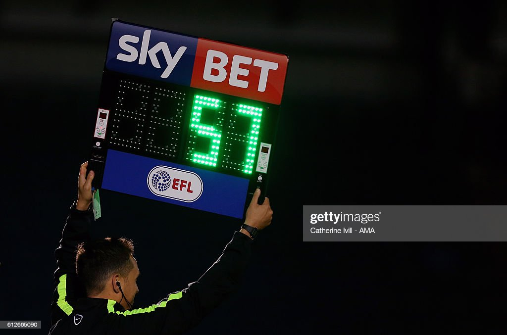 The EFL Sky Bet substitutes board is held up during the Checkatrade trophy match between Wycombe Wanderers and West Ham United at Adams Park on October 4, 2016 in High Wycombe, England.