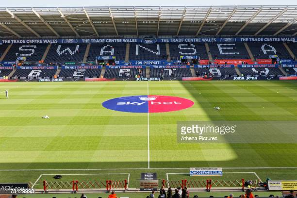 The EFL Skybet sponsor's logo in the centre of the pitch prior to the Sky Bet Championship match between Swansea City and Cardiff City at the Liberty...