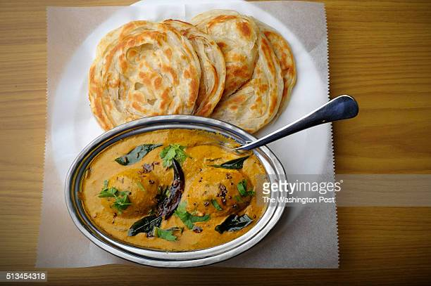 The egg curry with Ceylon parantha is photographed at Curry Leaf October 26 2015 in Laurel MD