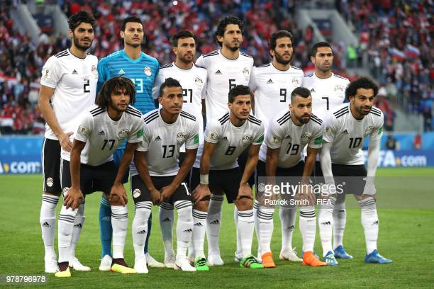 The Egypt players pose for a team photo prior to the 2018 FIFA World Cup Russia group A match between Russia and Egypt at Saint Petersburg Stadium on...
