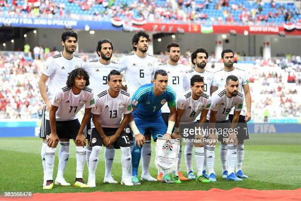 The Egypt players pose for a team photo prior to the 2018 FIFA World Cup Russia group A match between Saudia Arabia and Egypt at Volgograd Arena on...