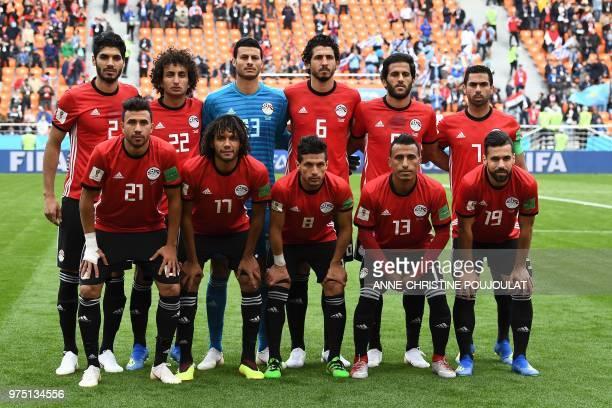 The Egypt starting XI Egypt's defender Ali Gabr Egypt's midfielder Amr Warda Egypt's goalkeeper Mohamed El Shenawy Egypt's defender Ahmed Hegazi...
