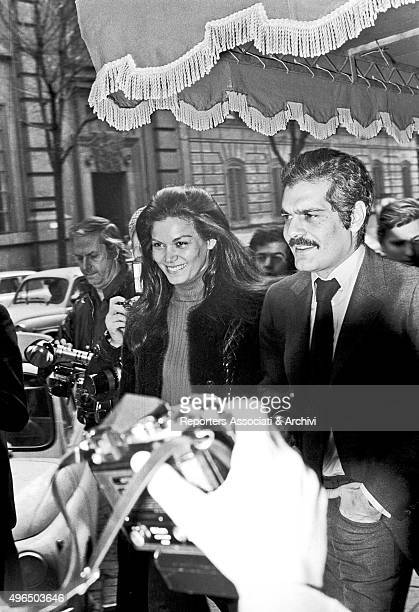 The Egyptian actor Omar Sharif and the Brazilian actress Florinda Bolkan are surrounded by photographers after a press conference for the launching...