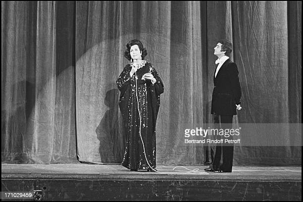 The Egyptian actress Faten Hamama and Jean Claude Brialy during the Unicef Gala in Paris in 1972