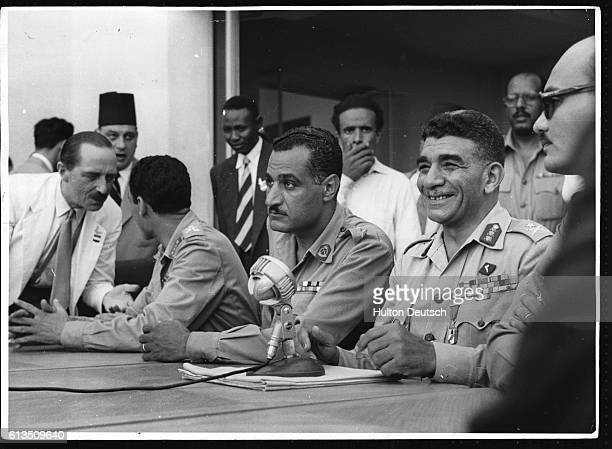 The Egyptian military and political leader General Gamal Nasser at a press conference for invited members of the world's media to see Egypt celebrate...
