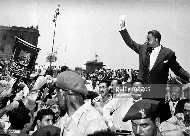 The Egyptian President Gamal Abdel NASSER announcing the nationalization of the Suez Canal to a crowd of 250,000 people during a celebration of the...