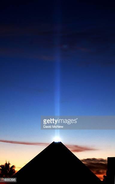 The Egyptian pyramidshaped Luxor Hotel's light beam dominates the sky above the Las Vegas Strip on November 21 2002 in Las Vegas Nevada