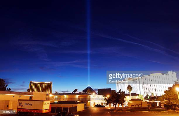 The Egyptian pyramidshaped Luxor Hotel's light beam dominates the sky above the many hotels on or near the Las Vegas Strip on November 21 2002 in Las...