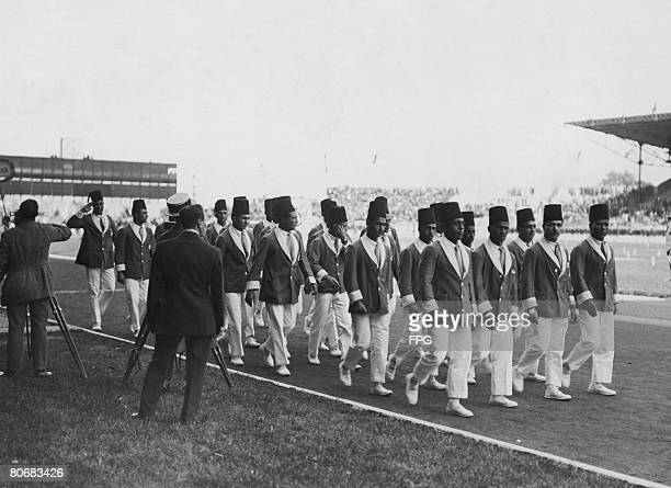 The Egyptian team taking part in the opening ceremony of the Summer Olympic Games at the Stade Olympique YvesduManoir Paris 4th May 1924