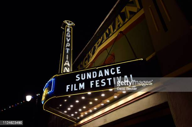 The Egyptian Theatre marquee is seen along Main Street during the 2019 Sundance Film Festival on January 24 2019 in Park City Utah