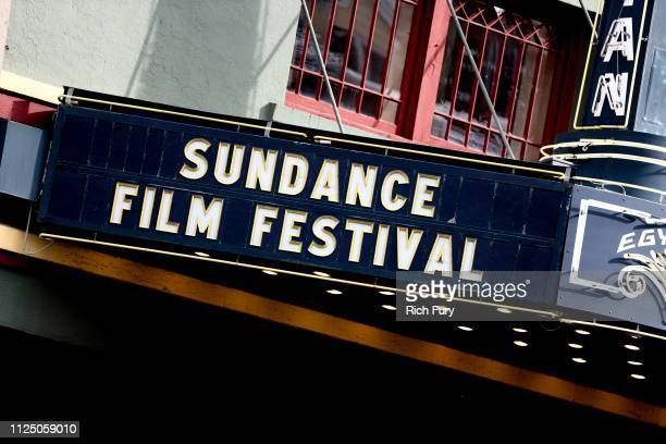 The Egyptian Theatre marquee on Main Street is seen during the 2019 Sundance Film Festival on January 25 2019 in Park City Utah