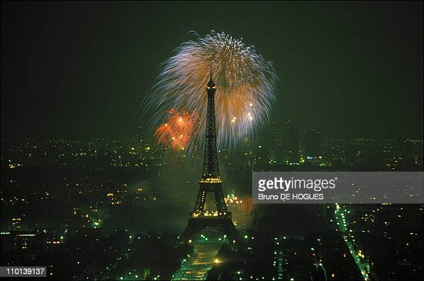 The Eiffel Tower during Bastille Day celebrations in Paris France in July 1986