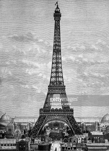 The eiffel tower in 1888 paris france historical engraving 1888