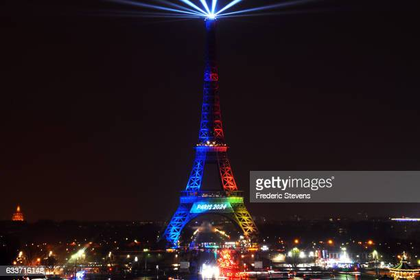The Eiffel Tower is lit in the colours of the french bid logo during the launch of the international campaign for Paris' bid to host the 2024 Olympic...