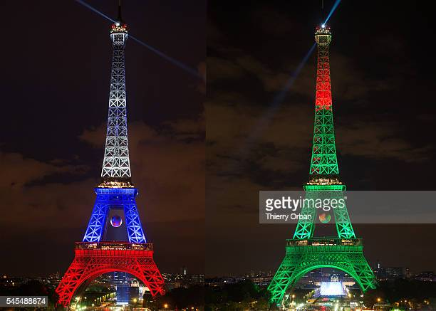 COMPOSITE OF TWO IMAGES Image numbers 540466694 and 544013996 In this composite image the Eiffel Tower is lit up in the colours of the two finalists...