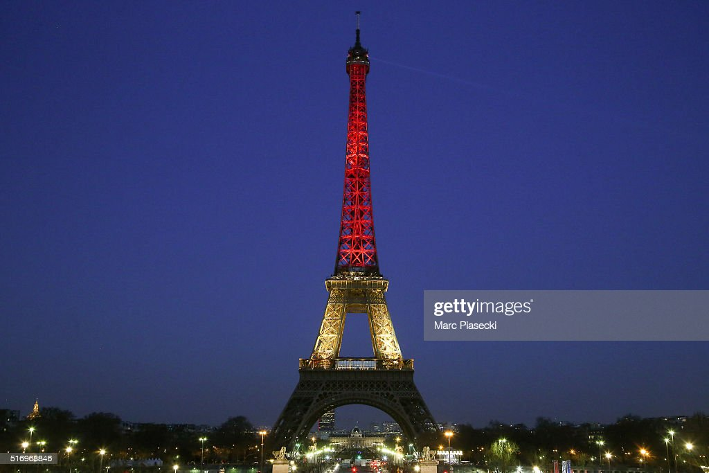 The Eiffel tower is lit up with the Belgian flag colours of red, yellow and black on March 22, 2016 in Paris, France. The tower has been lit-up in solidarity with the Brussels victims following the bomb attacks which killed at least 31 people on today in Brussels, Belgium.