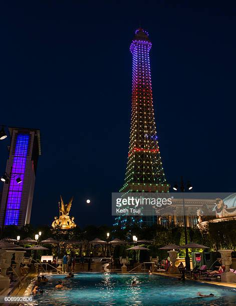 The 'Eiffel Tower' is seen from the pool deck during the Front Row at Shoppes at Parisian on September 16 2016 in Macau Macau