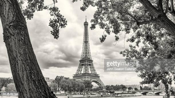 the eiffel tower - paris noir et blanc photos et images de collection