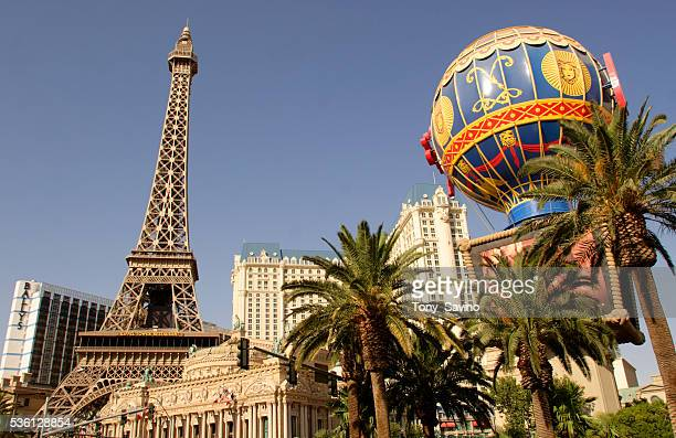 The Eiffel Tower replica at Paris Las Vegas rises above the Las Vegas Strip