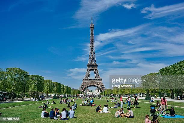 The Eiffel Tower set against a blue sky