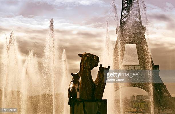 The Eiffel Tower viewed through fountains of water