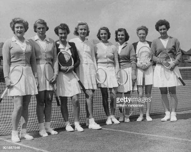 The eight possibles for the Wightman Cup team start a twoday trial in Surbiton before the LTA committee to find the best pairings 25th May 1948 From...