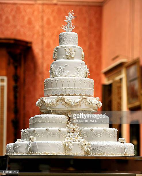 The eight tiered wedding cake made by Fiona Cairns and her team awaits the newly weds Prince William and Kate Middleton in the Picture Gallery of...