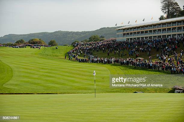 The eighteenth green during the continuation of Friday's fourball matches at the 38th Ryder Cup at the Twenty Ten Course at Celtic Manor in Newport...