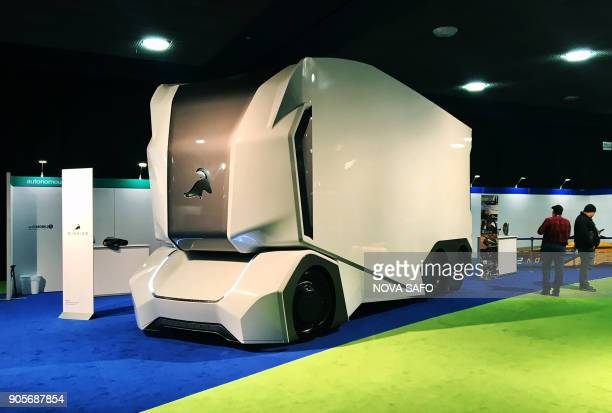 The Einride Tpod autonomous concept truck is pictured during the press preview at the 2018 North American International Auto Show in Detroit Michigan...
