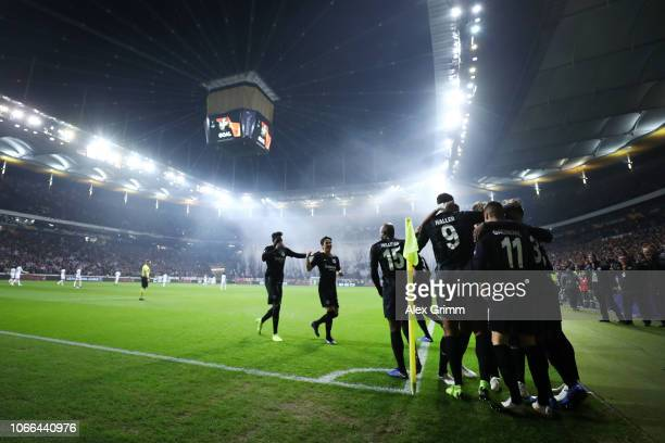 The Eintracht Frankfurt team celebrate a Luiz Gustavo own goal for their sides second goal during the UEFA Europa League Group H match between...