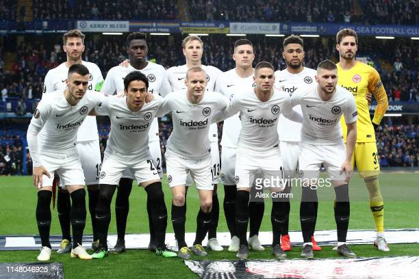 The Eintracht Frankfurt team line up prior to the UEFA Europa League Semi Final Second Leg match between Chelsea and Eintracht Frankfurt at Stamford...