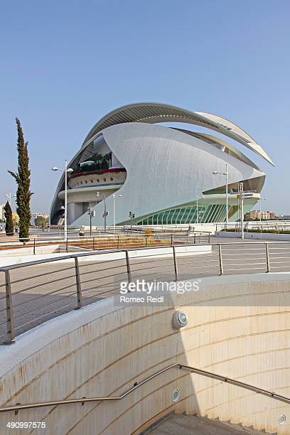 The El Palau de les Arts Reina Sofia opera house viewed from the stairs that lead into the City of Arts and Sciences complex in Valencia, Spain.
