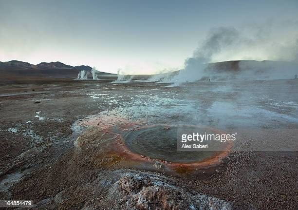 the el tatio geysers, in the atacama desert, chile at sunrise. - alex saberi stock pictures, royalty-free photos & images